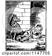 Clipart Of A Retro Vintage Black And White Boy Resting By A Dog Royalty Free Vector Illustration