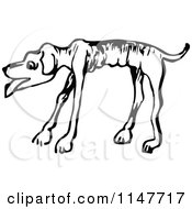 Clipart Of A Retro Vintage Black And White Emaciated Dog Royalty Free Vector Illustration