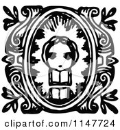 Clipart Of A Retro Vintage Black And White Girl And Book Design Royalty Free Vector Illustration by Prawny Vintage