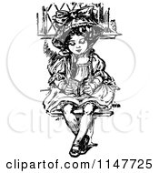 Clipart Of A Retro Vintage Black And White Fancy Girl Reading Royalty Free Vector Illustration