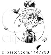 Clipart Of A Retro Vintage Black And White Lady With A Hat Butterflies And A Bird Royalty Free Vector Illustration