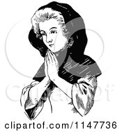 Clipart Of A Retro Vintage Black And White Lady Praying Royalty Free Vector Illustration by Prawny Vintage