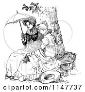 Retro Vintage Black And White Ladies Sitting On A Tree Bench With A Parasol