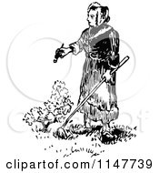 Clipart Of A Retro Vintage Black And White Woman Gardening Royalty Free Vector Illustration