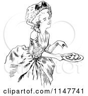Clipart Of A Retro Vintage Black And White Hostess Offering Cookies Royalty Free Vector Illustration