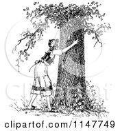Retro Vintage Black And White Woman Hugging A Tree
