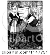 Clipart Of A Retro Vintage Black And White Woman Presenting Cloth Royalty Free Vector Illustration