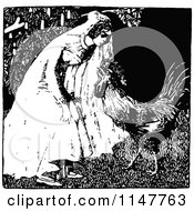 Clipart Of A Retro Vintage Black And White Bride And Rooster Royalty Free Vector Illustration
