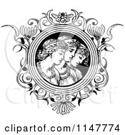 Clipart Of A Retro Vintage Black And White Trio Of Women In A Floral Frame Royalty Free Vector Illustration