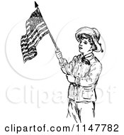 Clipart Of A Retro Vintage Black And White Scout Boy With An American Flag Royalty Free Vector Illustration by Prawny Vintage