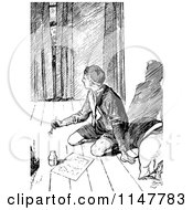 Clipart Of A Retro Vintage Black And White Man Peeking In At A Boy Scout Writing Royalty Free Vector Illustration by Prawny Vintage