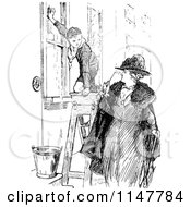 Retro Vintage Black And White Woman Looking At A Boy Scout Washing Windows