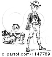 Clipart Of A Retro Vintage Black And White Boy And Digging Girl Royalty Free Vector Illustration
