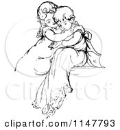 Clipart Of A Retro Vintage Black And White Affectionate Children Royalty Free Vector Illustration