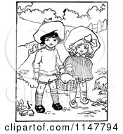 Clipart Of A Retro Vintage Black And White Boy And Girl Carrying A Basket Royalty Free Vector Illustration