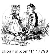 Clipart Of A Retro Vintage Black And White Children In A Garden Royalty Free Vector Illustration