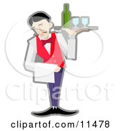 Male Servant Holding A Tray With Wineglasses And A Bottle Of Wine Clipart Illustration
