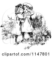 Clipart Of Retro Vintage Black And White Affectionate Sisters Embracing Royalty Free Vector Illustration