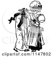 Clipart Of A Retro Vintage Black And White Big Sister Picking Up A Girl Royalty Free Vector Illustration by Prawny Vintage