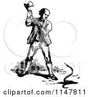Clipart Of A Retro Vintage Black And White Man Killing A Snake With An Axe Royalty Free Vector Illustration