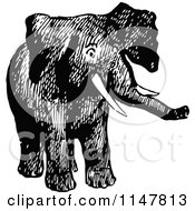 Clipart Of A Retro Vintage Black And White Elephant Royalty Free Vector Illustration by Prawny Vintage
