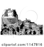Clipart Of Retro Vintage Black And White Mice Stealing A Crown Royalty Free Vector Illustration
