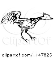 Clipart Of A Black And White Chicken Royalty Free Vector Illustration by Prawny Vintage