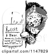 Clipart Of A Retro Vintage Black And White Bear Posting A Lost Sign Royalty Free Vector Illustration by Prawny Vintage