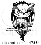 Clipart Of A Retro Vintage Black And White Owl Resting On A Twig Royalty Free Vector Illustration by Prawny Vintage