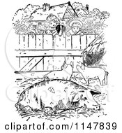 Clipart Of A Retro Vintage Black And White Dog And Kids Looking Into A Pig Pen Royalty Free Vector Illustration by Prawny Vintage