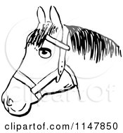 Clipart Of A Retro Vintage Black And White Horse Head 2 Royalty Free Vector Illustration