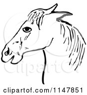 Clipart Of A Retro Vintage Black And White Horse Head Royalty Free Vector Illustration