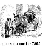 Clipart Of A Retro Vintage Black And White Boy Talking To A Donkey With A Cart Royalty Free Vector Illustration by Prawny Vintage