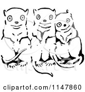 Clipart Of Retro Vintage Black And White Cute Critters Royalty Free Vector Illustration