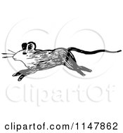 Clipart Of A Retro Vintage Black And White Running Mouse Royalty Free Vector Illustration