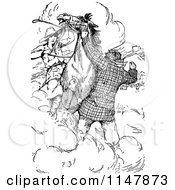 Clipart Of A Retro Vintage Black And White Man Trying To Stop A Scared Horse With A Woman On It Royalty Free Vector Illustration by Prawny Vintage