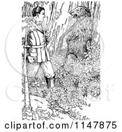 Clipart Of A Retro Vintage Black And White Man And Bear In The Woods Royalty Free Vector Illustration by Prawny Vintage