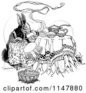 Retro Vintage Black And White Rabbit Cooking