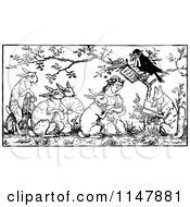 Retro Vintage Black And White Crow Marrying A Girl And Rabbit