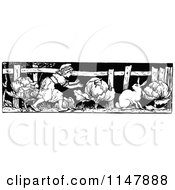 Clipart Of A Retro Vintage Black And White Girl And Rabbit In A Cabbage Patch Royalty Free Vector Illustration by Prawny Vintage