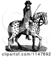 Clipart Of A Retro Vintage Black And White Man On A Spotted Horse Royalty Free Vector Illustration by Prawny Vintage
