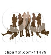 Brown Group Of Silhouetted People Hanging Out In A Crowd Clipart Illustration