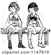 Retro Vintage Black And White Girls Sitting On A Bench 2
