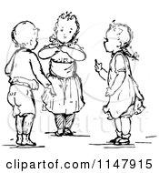 Retro Vintage Black And White Little Children Talking