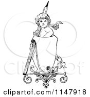 Clipart Of A Retro Vintage Black And White Cherub With A Pencil And Sign Royalty Free Vector Illustration