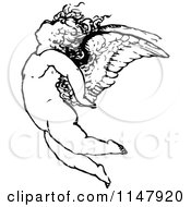 Clipart Of A Retro Vintage Black And White Cherub Flying Royalty Free Vector Illustration