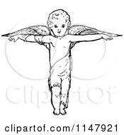 Clipart Of A Retro Vintage Black And White Cherub With Arms Out And Wings Royalty Free Vector Illustration