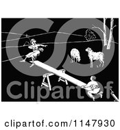 Clipart Of A Retro Vintage Black And White Boy And Girl On A See Saw By Sheep Royalty Free Vector Illustration