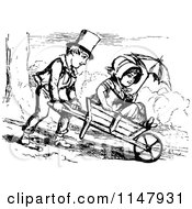 Clipart Of A Retro Vintage Black And White Boy Pushing A Girl In A Wheelbarrow Royalty Free Vector Illustration