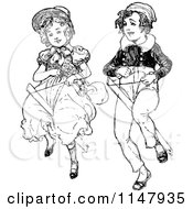 Clipart Of A Retro Vintage Black And White Boy And Girl With Cock Ponies Royalty Free Vector Illustration by Prawny Vintage